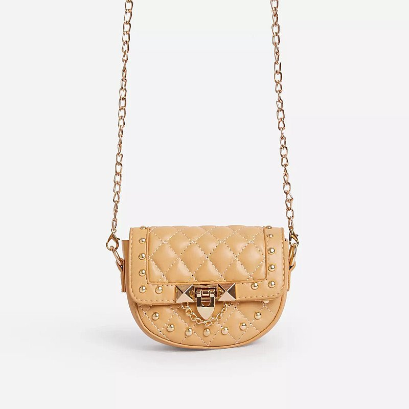 SALE - Prettie Studded Detail Quilted Mini Cross Body Bag In Nude Faux Leather!