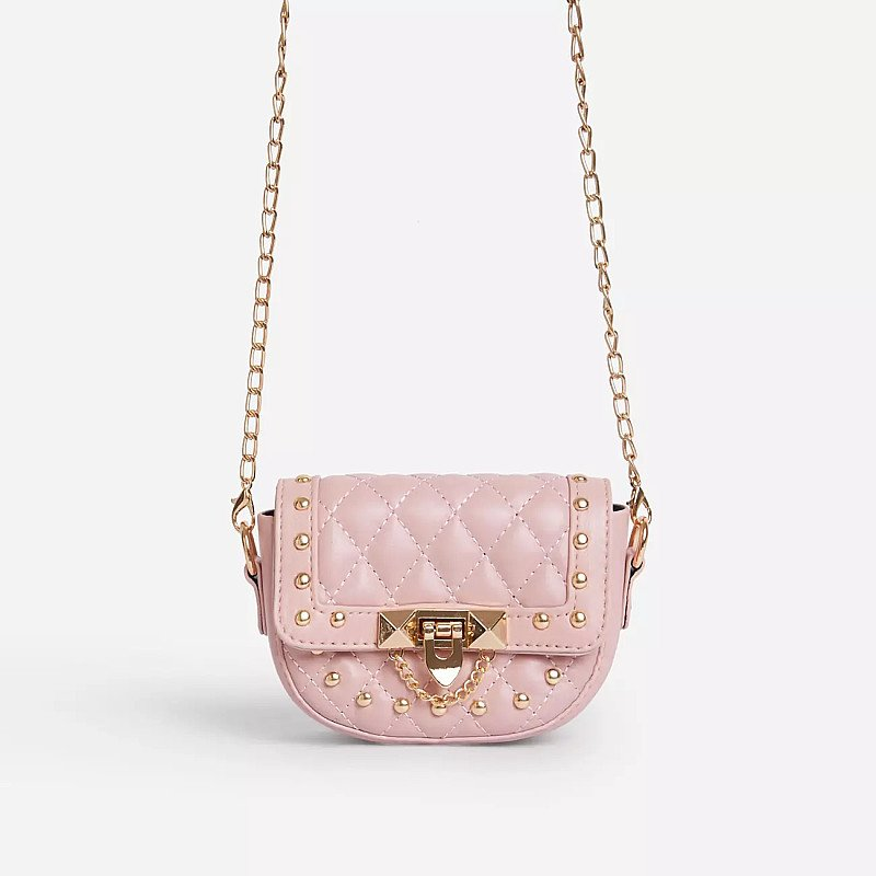SALE - Prettie Studded Detail Quilted Mini Cross Body Bag In Pink Faux Leather!