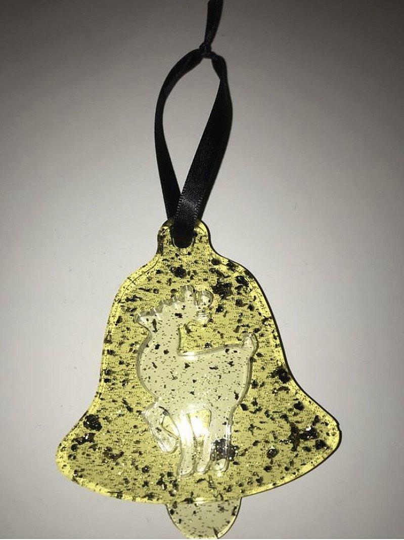 Handmade resin Christmas bell shaped bauble