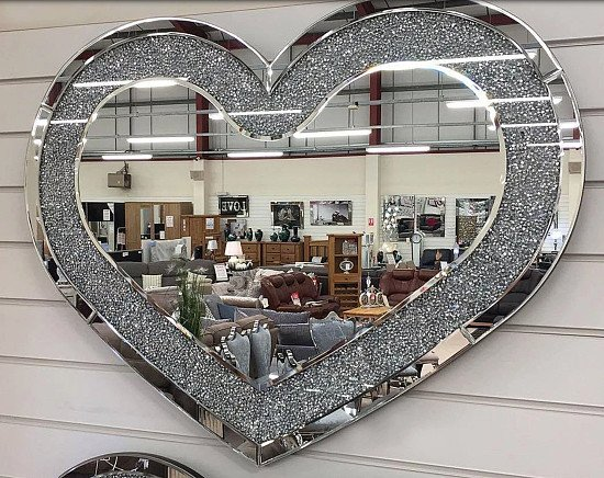 Crushed Diamante Wide Heart Shaped Mirror - Now Available