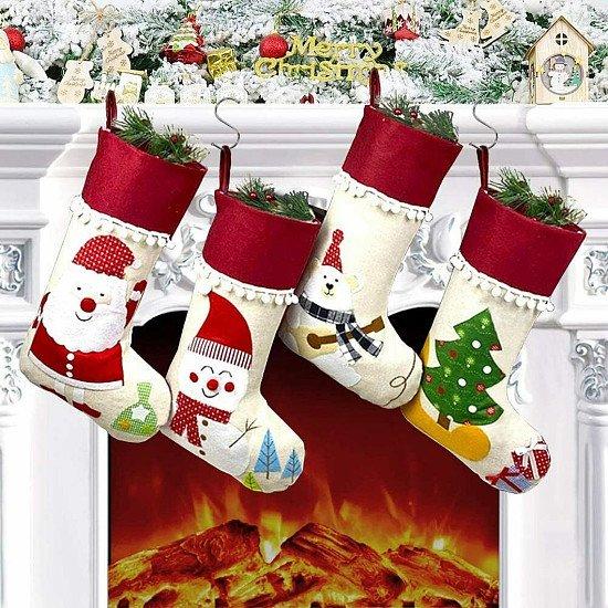 """Christmas Stockings 4pcs 18"""" Large Xmas Sock Sack Gift Bag for Holiday Decoration Christmas Ornament"""