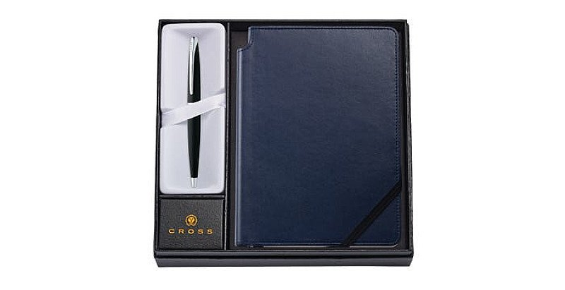 Shop Gift Sets from Cross, perfect for Christmas: ATX Basalt Black Ballpoint Pen with Notebook!