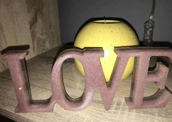 Handmade resin 'love' sign