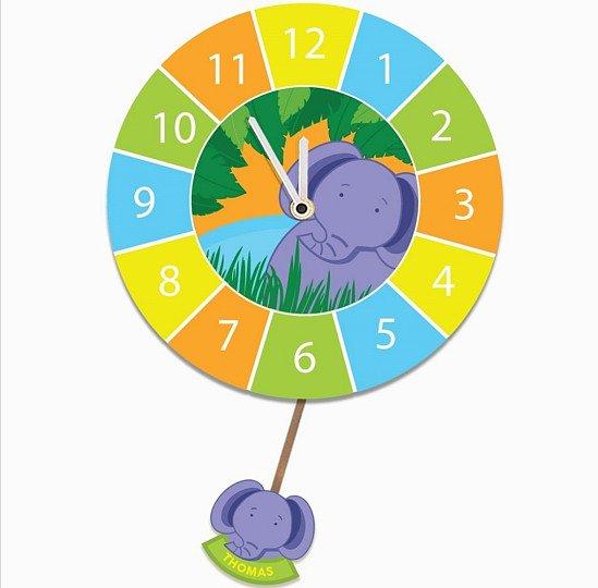 Customised Child Bedroom Elephant Clock. Silent Tick