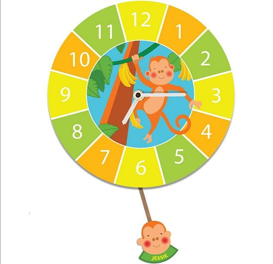 Customised Monkey Pendulum Wall Clock with Childs Name and Silent Tick
