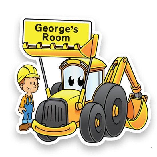 Personalised Yellow Digger Doorplaque