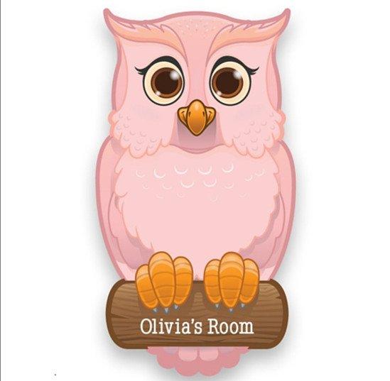 Personalised Pink/Blue Owl Door Plate