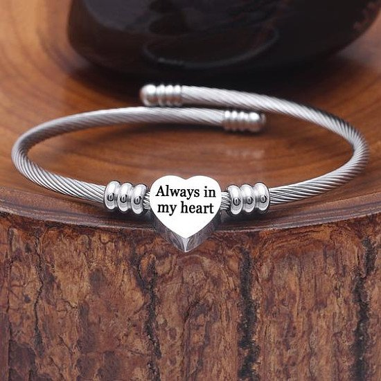 Great Gift || 35 OFF Stainless Steel Always in My Heart Bracelet || FREE UK Shipping