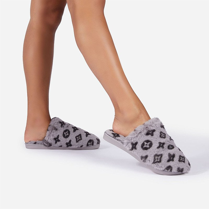 Save - Kulture Fluffy Printed Detail Flat Slipper In Grey Faux Fur