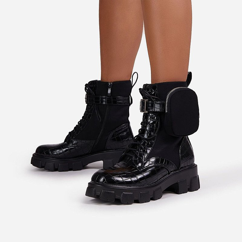 Save on Flame Pocket Detail Lace Up Chunky Sole Ankle Biker Boot In Black Croc Print Patent