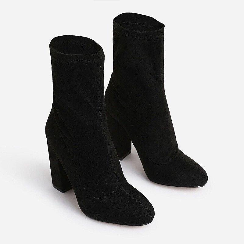 SAVE - Hayden Block Heel Sock Boot In Black Faux Suede
