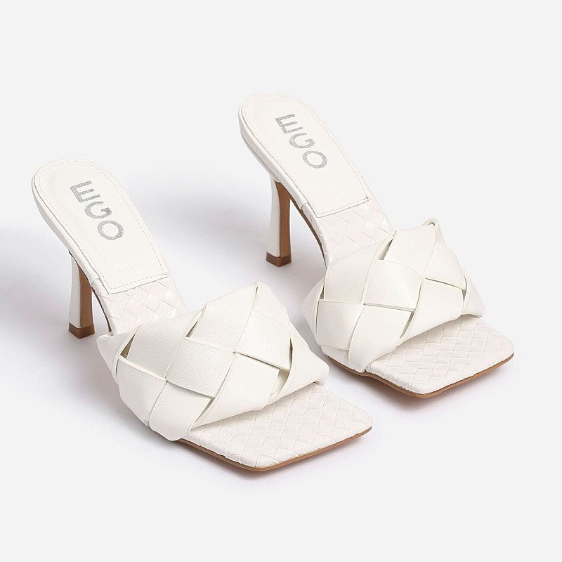 Save - Turntup Woven Square Peep Toe Mule In White Faux Leather