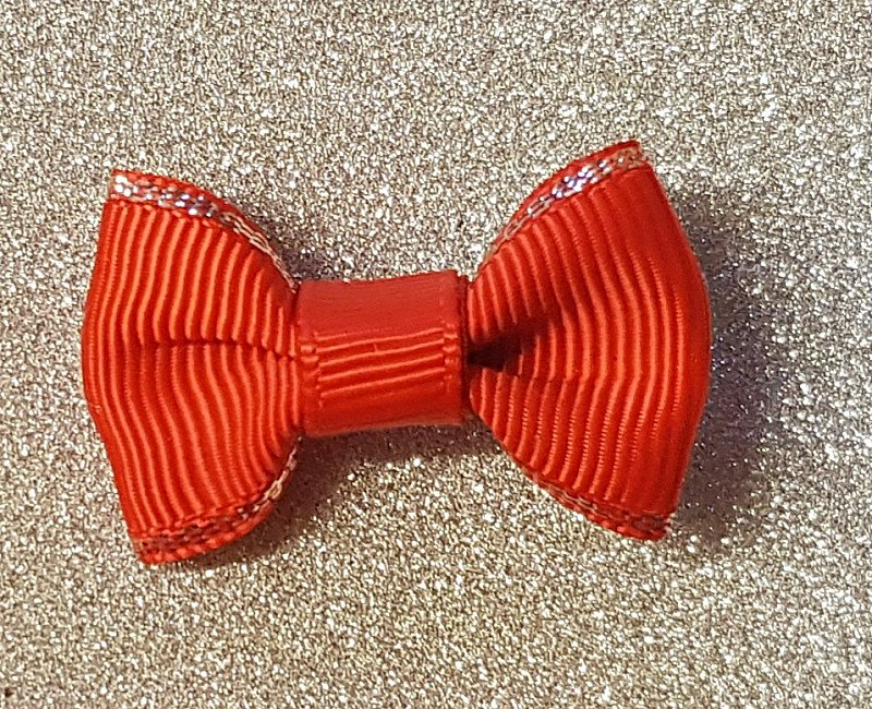 Red Silver Edge Teeny Hairbow or Headband