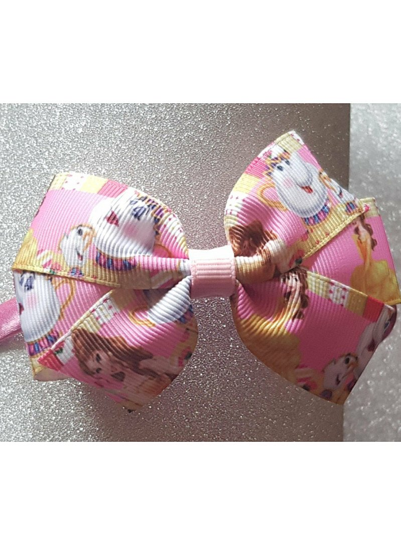 Princess Belle Chip and Mrs Potts Hairbow or Headband