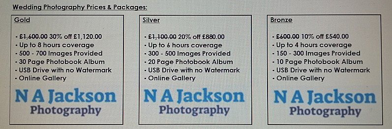 Discounted Wedding Photography Prices