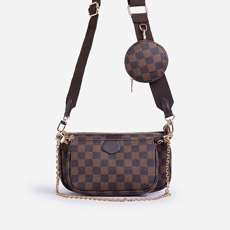 SAVE - Mika Checked Chain And Purse Detail Cross Body Bag In Brown Faux Leather
