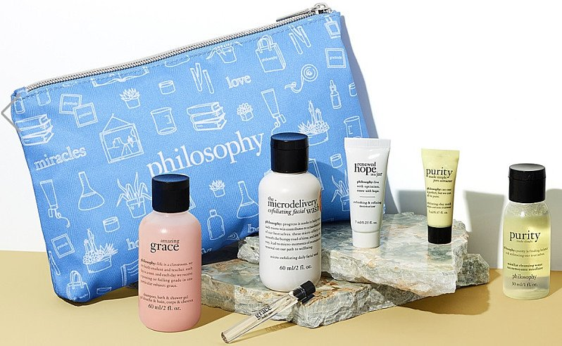 Receive a free philosophy Cactus Pouch when you buy any philosophy product...