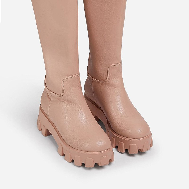 Reduced! Drizzle Chunky Sole Knee High Long Wellington Boot In Nude Faux Leather!