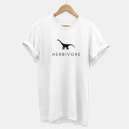 Herbivore Dinosaur, Ethical Vegan T-Shirt (Unisex) (Available in a range of different sizes) £19.00!