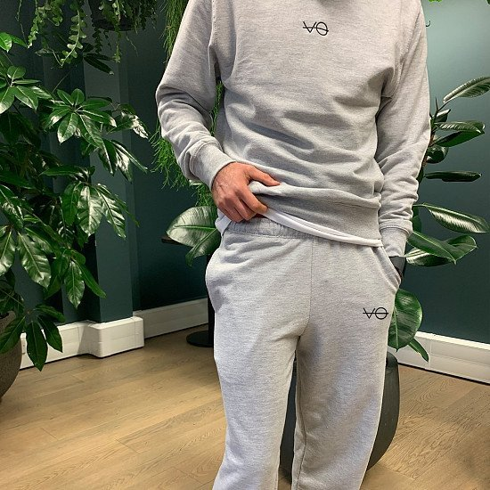 Classic Fit Heather Grey VO Embroidered Joggers (Unisex) - Only £35!