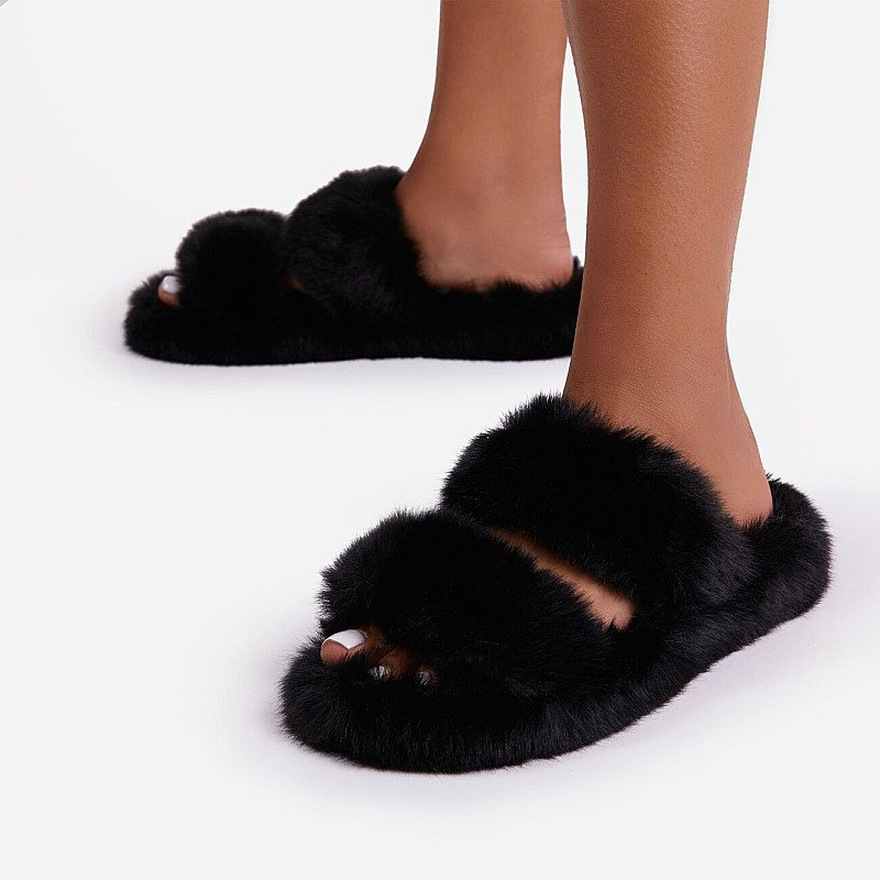 Save on these Pamper Fluffy Double Strap Slider Slipper In Black Faux Fur