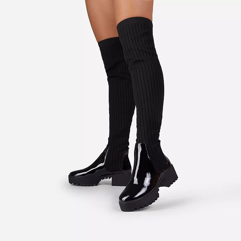 Save on these Colorado Knitted Over The Knee Thigh High Long Sock Biker Boots