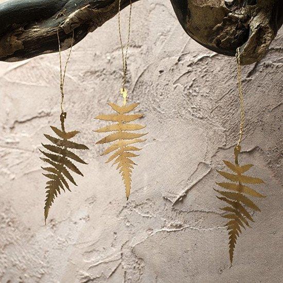 Nkuku Christmas Decor - Tabwa Leaf Decorations - Fern Leaf In Brass (Set of 3) - £12.95