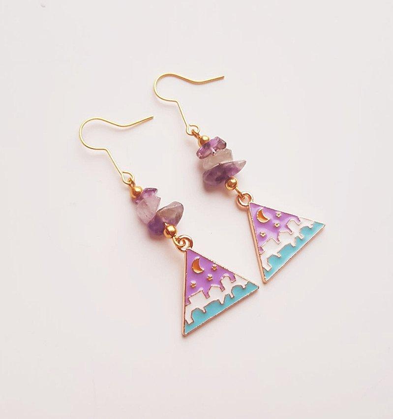 Crystal Lilac Moon Earrings with Genuine Amethyst