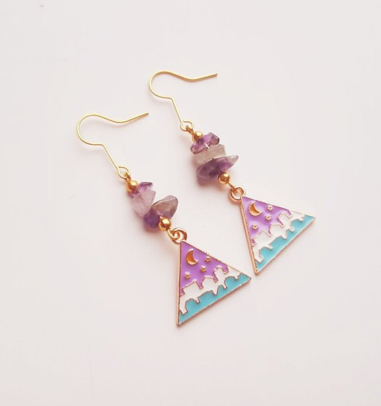 Crystal Lilac Moon Earrings with Genuine Amethyst