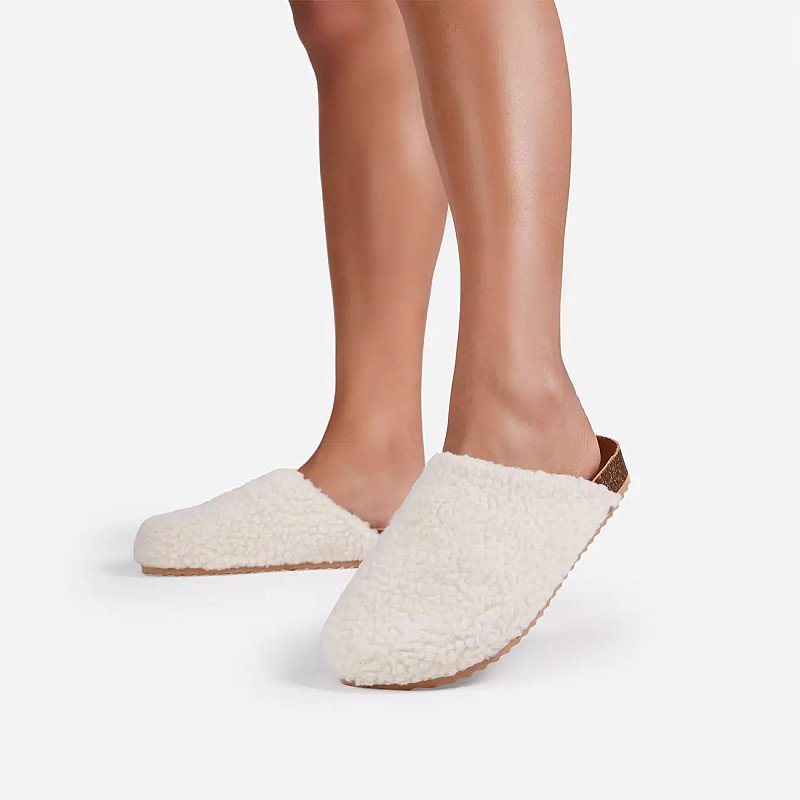 SAVE - Oozy Flat Mule In Off White Faux Shearling