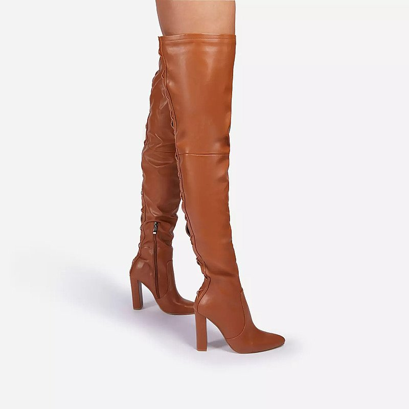 SAVE - Invasion Block Heel Lace Up Over The Knee Thigh High Long Boot In Tan Brown Faux Leather