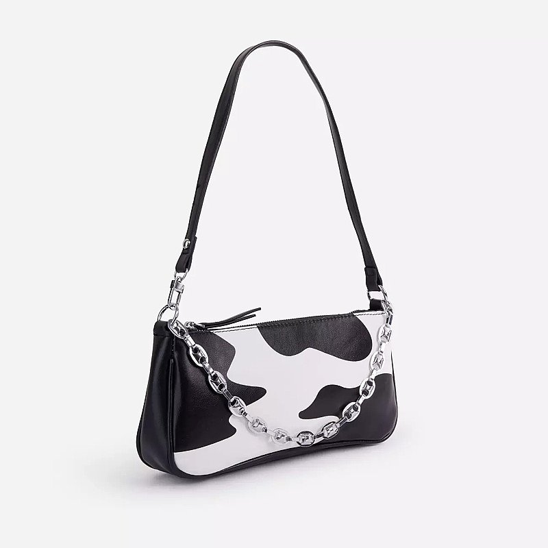 SAVE - Alexa Chain Detail Shoulder Bag In Black Cow Print Faux Leather