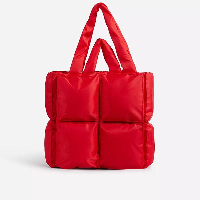 SAVE - Manic Oversized Puffa Tote Bag In Red Nylon