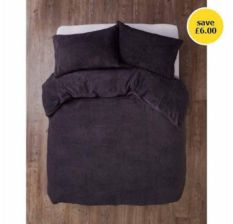 SALE - Sleepdown Charcoal Soft Teddy Fleece Duvet Set Kingsize!