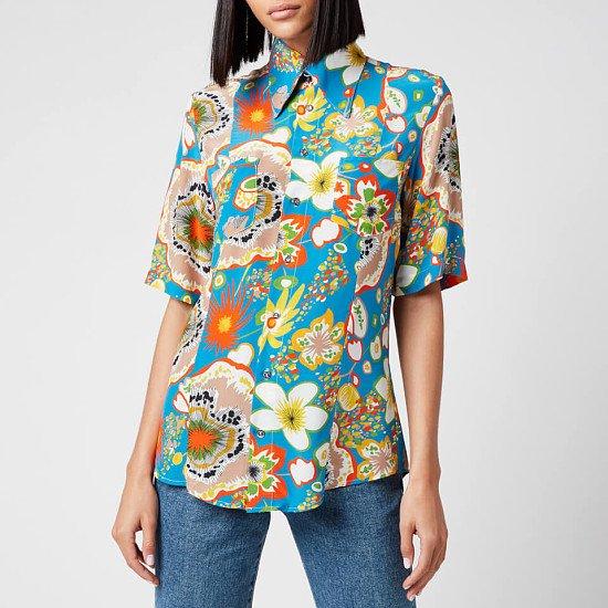 SALE - Simon Miller Women's Bandera Shortsleeve Shirt - Blue Floral Print!