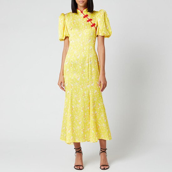 SALE - De La Vali Women's Bluebell Printed Satin Midi Dress - Yellow Rose!