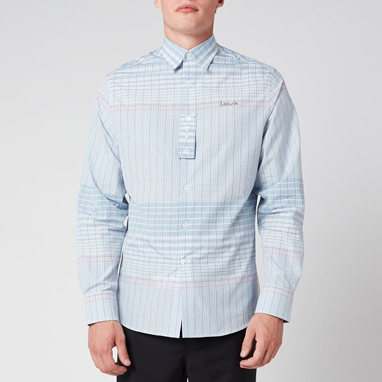 SALE - Lanvin Men's Adjustable Cuff Check Shirt - Blue/Pink!