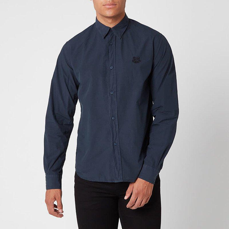 SALE - KENZO Men's Tiger Crest Poplin Shirt - Navy Blue!
