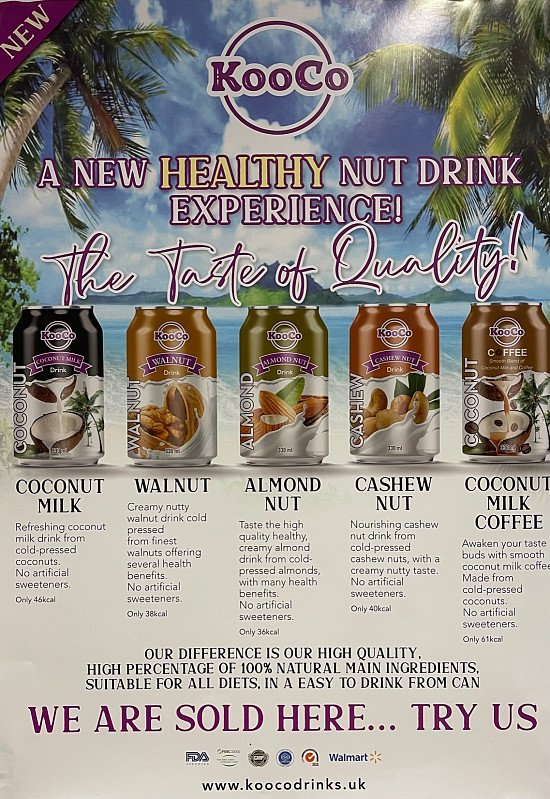 Hi guys, we are new drinks, all made from cold pressed nuts. No artificial sweeteners, low calorie.