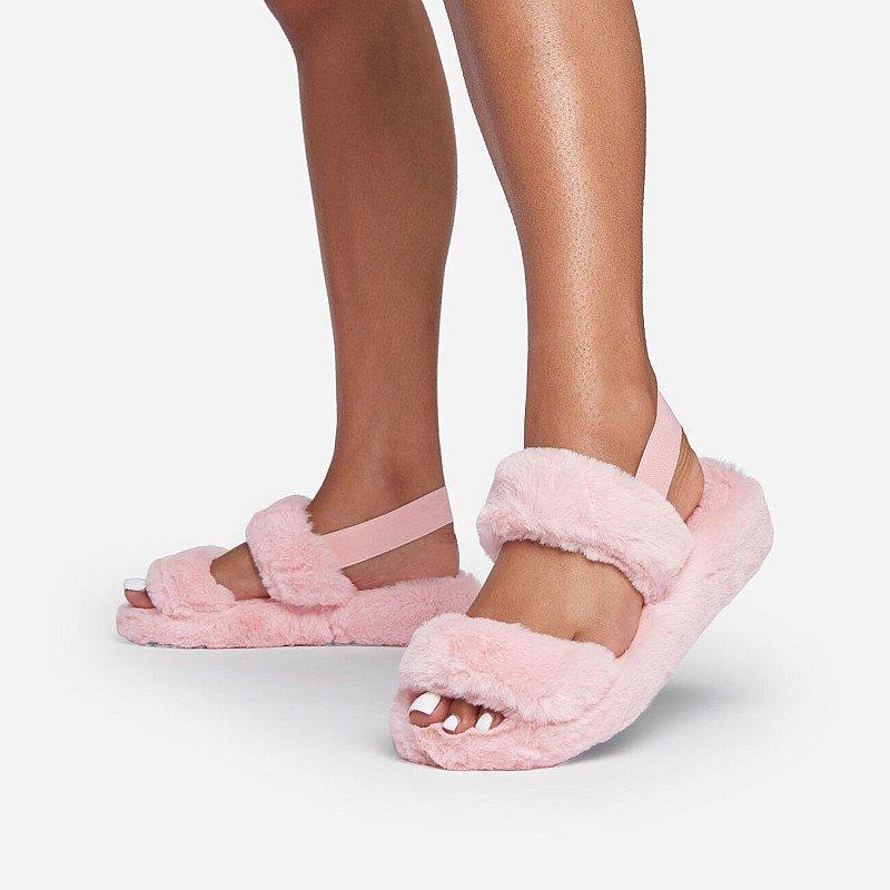 SAVE - Latte Fluffy Stripe Slipper In Light Pink Faux Fur