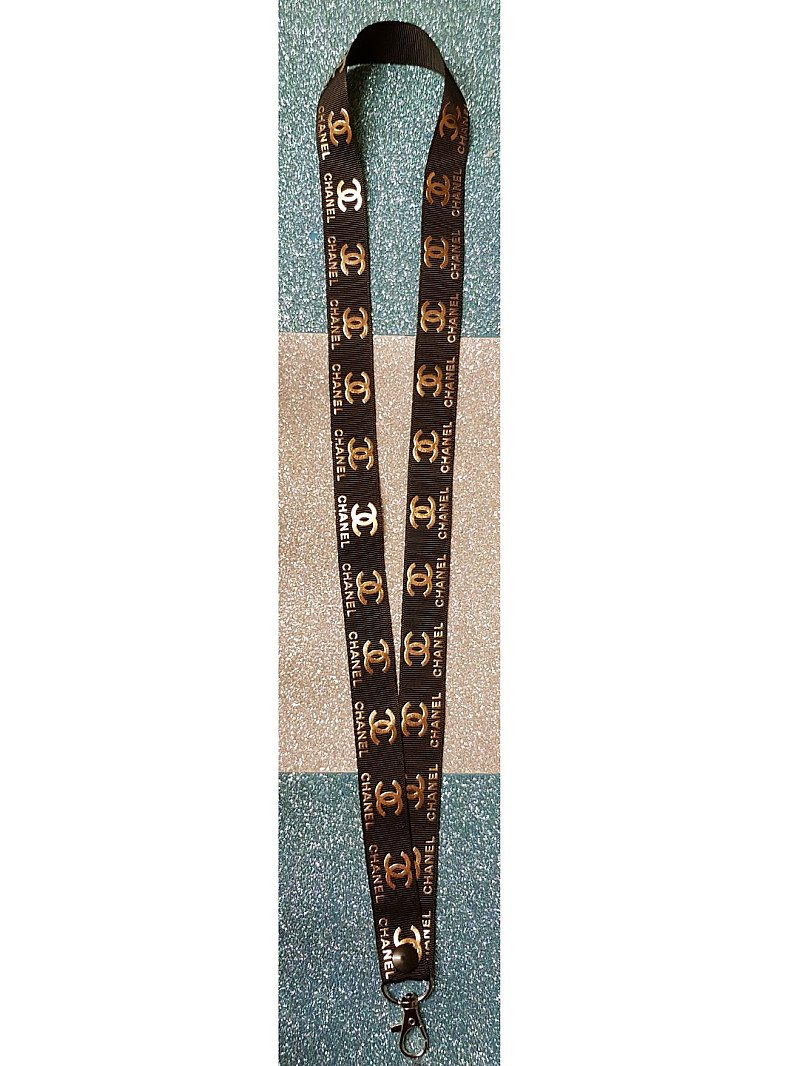 Chanel Black and Gold Lanyard Id Badge Holder