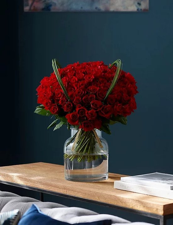 Collection 100 Red Roses Bouquet (Delivery from 9th February 2021) - £70.00!