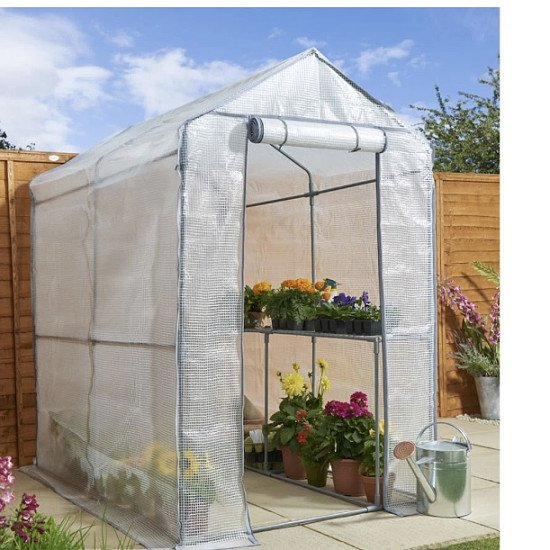 Walk in PE Greenhouse with Cover and Shelf Staging H190 x W120 x D190cm