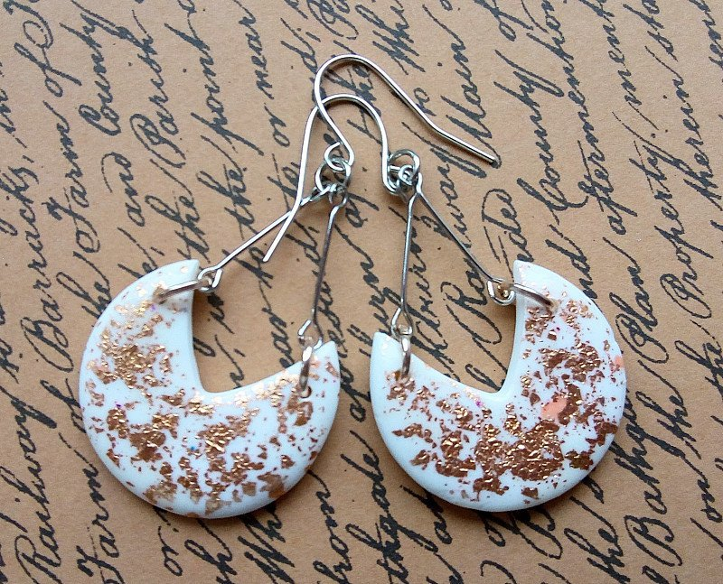 Handmade gold foil earrings