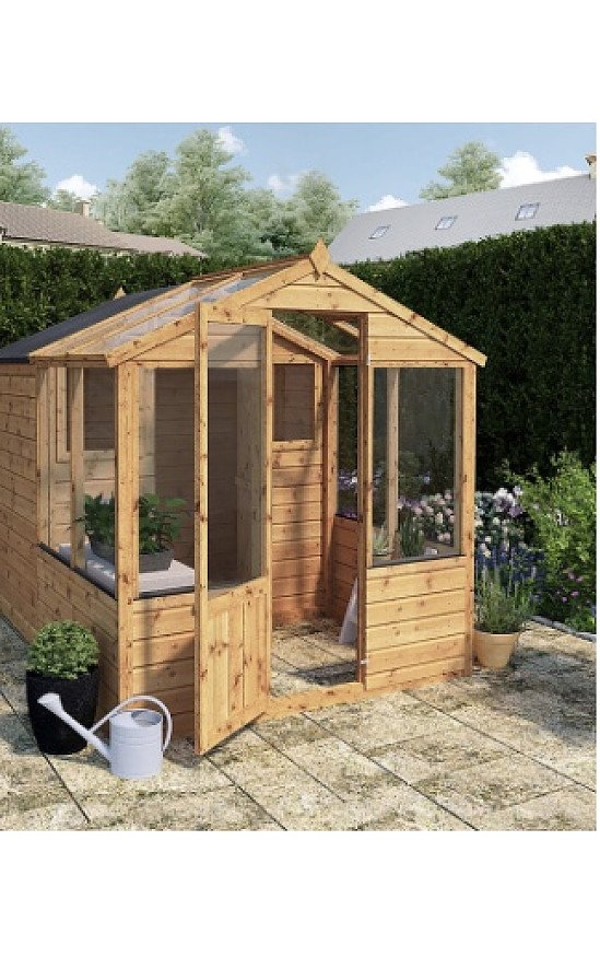 Traditional Apex Greenhouse Combi Shed 8' x 6'