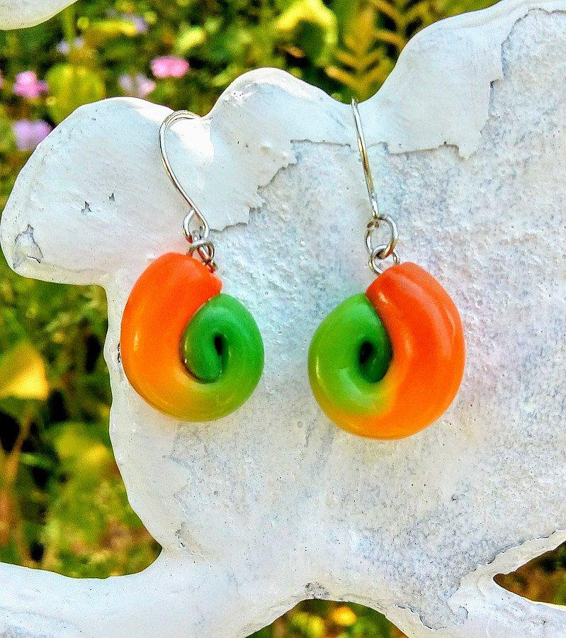 Colourful handmade swirl earrings