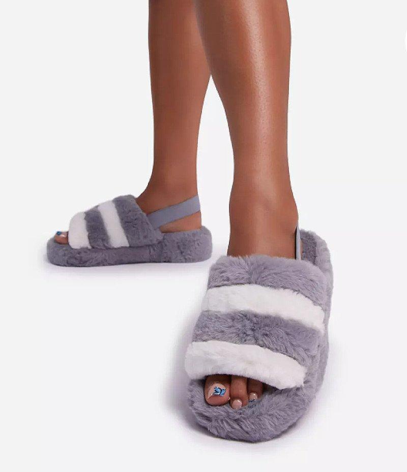 SAVE - Boo Fluffy White Stripe Slipper In Grey Faux Fur