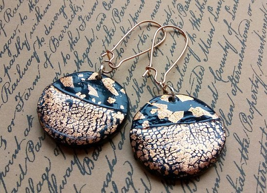 New listing.... gold foil crackle earrings