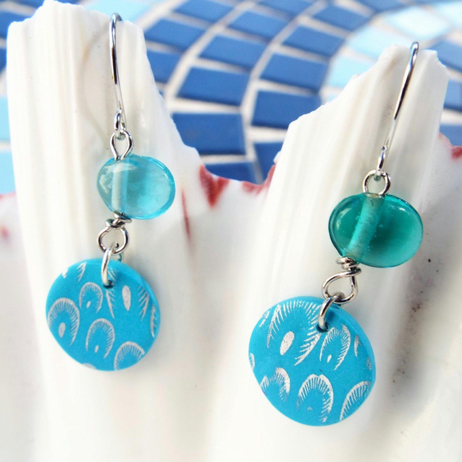 New shop listing... Light blue earrings