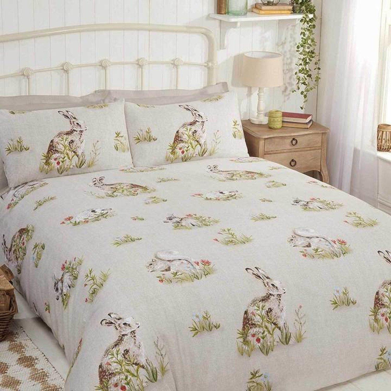 Country Bumpkins Rabbit Print Green Duvet Cover Set